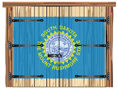 A large closed wooden barn double door with bolt and hinges and the South Dakota state flag painted on Ilustração