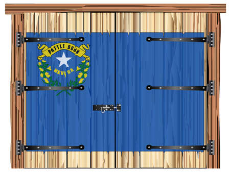 A large closed wooden barn double door with bolt and hinges and the Nevada state flag painted on