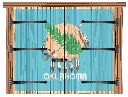 A large closed wooden barn double door with bolt and hinges and the Oklahoma state flag painted on Ilustração