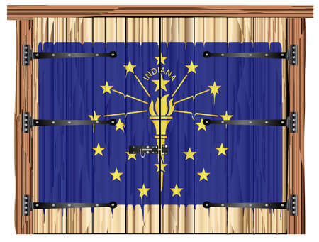 A large closed wooden barn double door with bolt and hinges and the Indiana state flag painted on