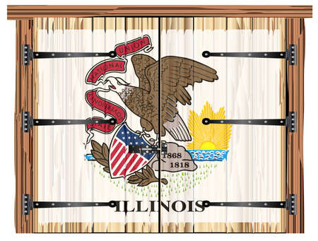 A large closed wooden barn double door with bolt and hinges and the Ilinois state flag painted on Illustration