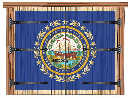 A large closed wooden barn double door with bolt and hinges and the New Hampshire state flag painted on