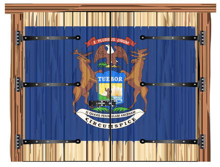 A large closed wooden barn double door with bolt and hinges and the Michigan state flag painted on Imagens - 115445059