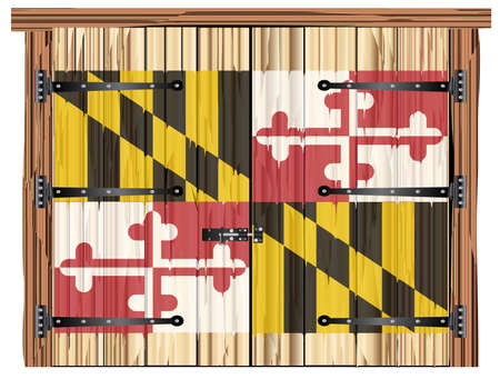 A large closed wooden barn double door with bolt and hinges and the Maryland state flag painted on
