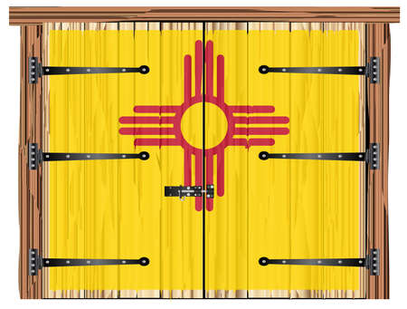 A large closed wooden barn double door with bolt and hinges and the New Mexico state flag painted on Ilustrace