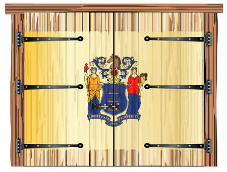 A large closed wooden barn double door with bolt and hinges and the New Jersey state flag painted on