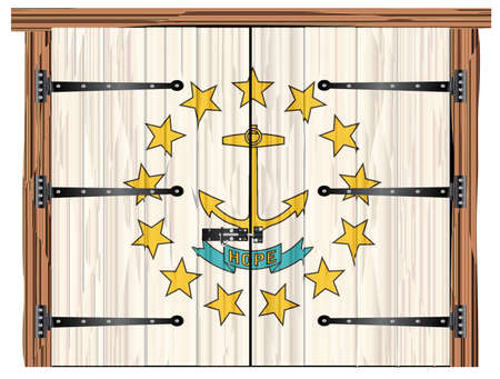 A large closed wooden barn double door with bolt and hinges and the Rhode Island state flag painted on Ilustração