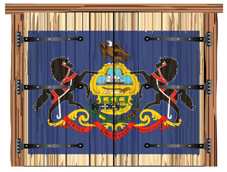 A large closed wooden barn double door with bolt and hinges and the Pennsylvania state flag painted on Imagens