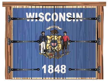 A large closed wooden barn double door with bolt and hinges and the Wisconsin state flag painted on Banco de Imagens - 115445067
