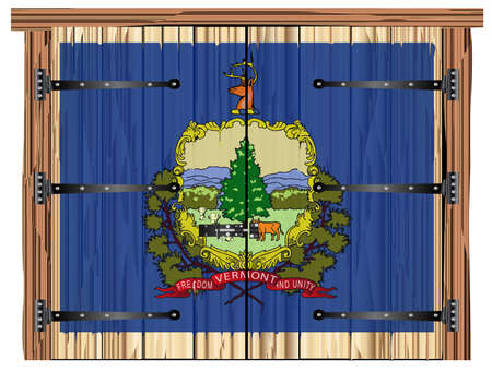 A large closed wooden barn double door with bolt and hinges and the Vermont state flag painted on Stock Photo