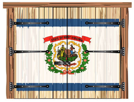 A large closed wooden barn double door with bolt and hinges and the West Virginia state flag painted on
