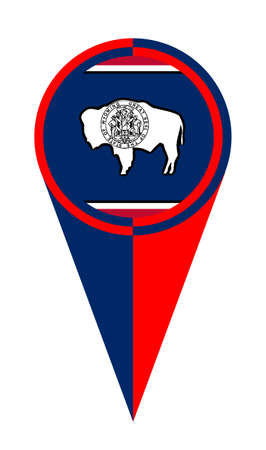 Wyoming map pointer pin icon location flag marker