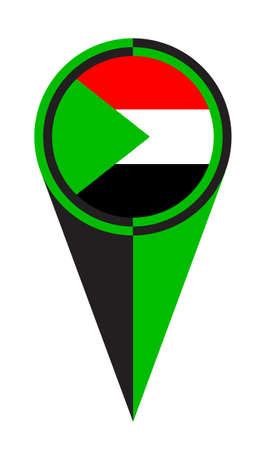 Sudan map pointer pin icon location flag marker