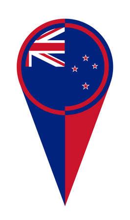 Mapa Nowej Zelandii wskaźnik pinezki ikona lokalizacji znacznik flagi