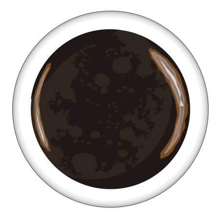 Top view of a cup of Americano Coffee over a white background