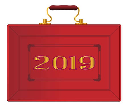 Il caso rosso come visualizzato dal Cancelliere dello Scacchiere del Regno Unito durante un nuovo budget 2019 su sfondo bianco