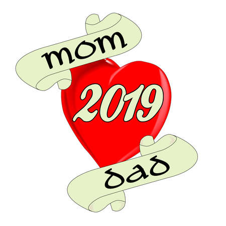 A tattoo style image of the 'Love Mom and Dad' with 2019 date