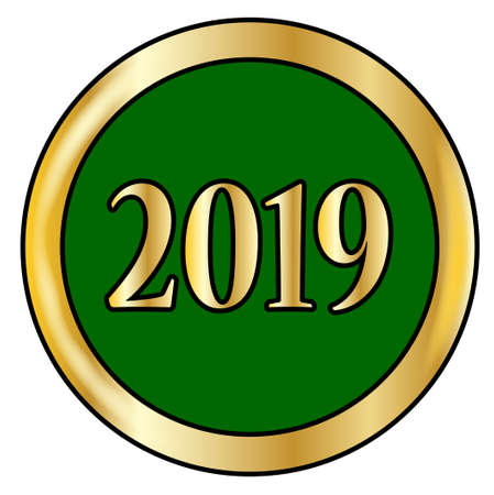2019 green button with a gold metal circular border over a white background