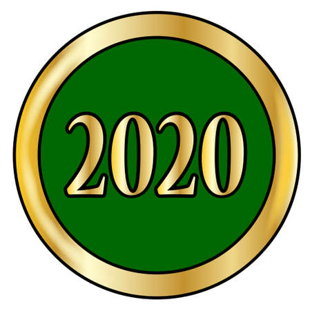 2020 new year green buttonr with a gold metal circular border over a white background Ilustração