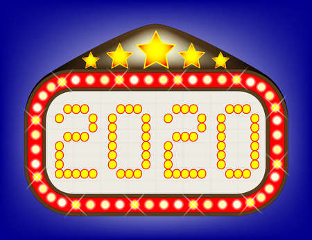 A 2020 movie theatre or theatre marquee.