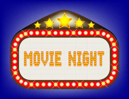 A movie night theatre or theatre marquee. Ilustração
