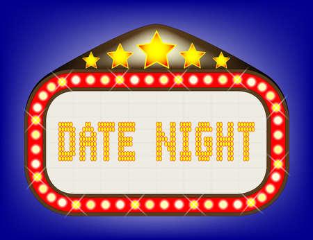 A date night theatre or theatre marquee. Ilustração