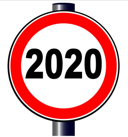 A large round red traffic displaying new years 2020 date