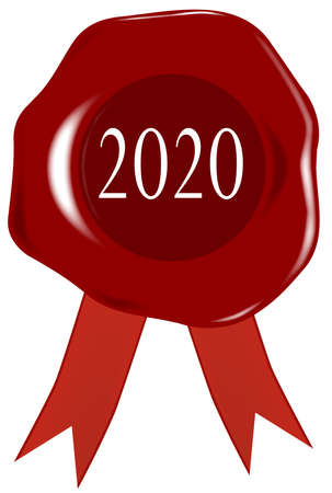 A 2020 wax stamp or seal with a position for personal text.
