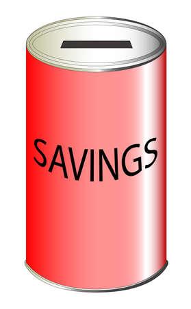 A red metal savings tin with the text savings