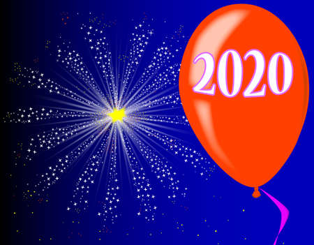 A flyaway red balloon with a skyrocket explosion with fallout and the legend 2020