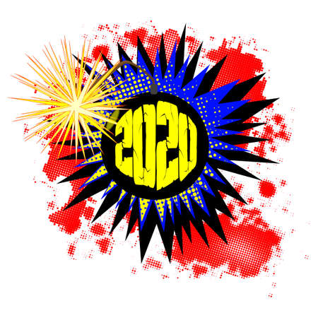A comic cartoon style bomb exclamation explosion over a white background for 2020 Ilustração