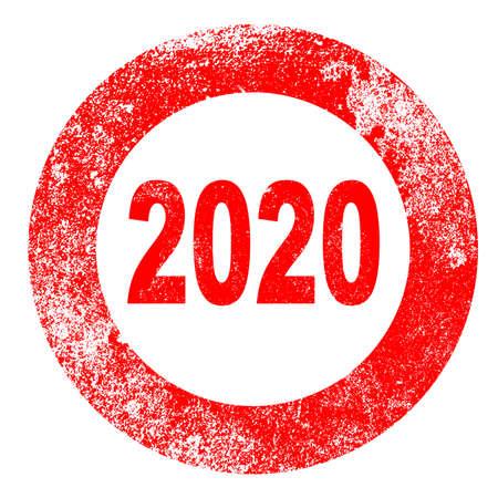 Grunge version of a 2020 rubber stamp over white Ilustração