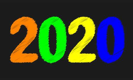 A blackboard with a message for 2020 on black Ilustração