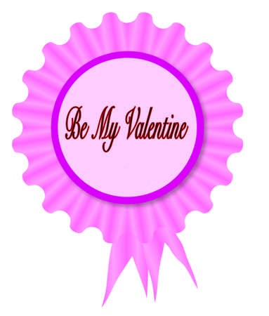 Pink and purple rosette with a love message Be My Valentine inset