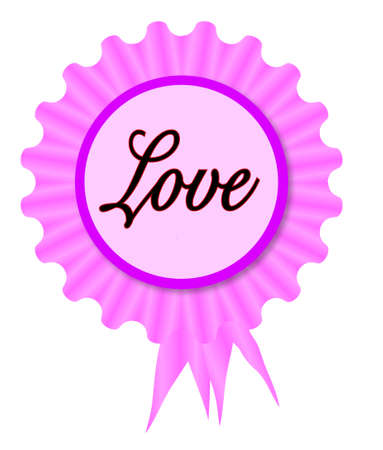 Pink and purple rosette with a love message inset
