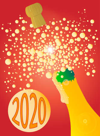 A New Year champagne bottle being opened with froth and bubbles with a large bubble exclaiming 2020
