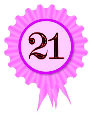 Pink and purple rosette with age 21 inset Ilustração