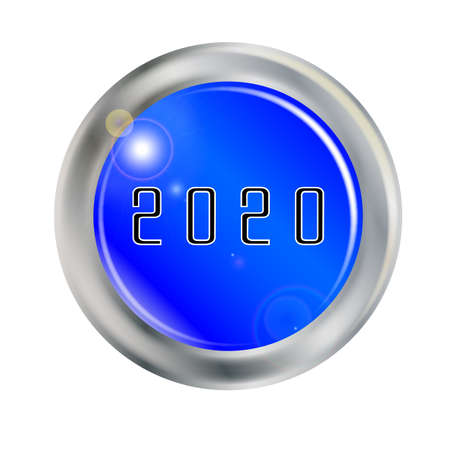 A button with the legend 2020 over white
