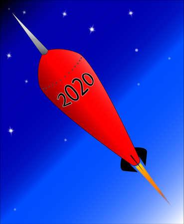 A retro look cartoon rocket ship with the message 2020 Ilustração