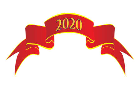 A red satin or silk ribbon with the legend 2020