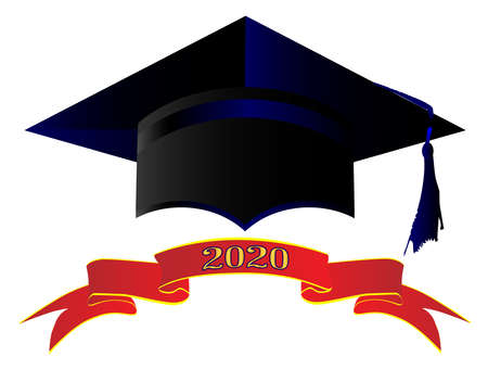 A university cap with banner showing 2020