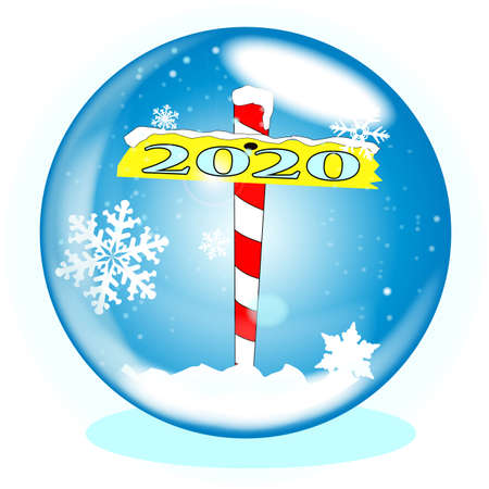A crystal ball over a winter scene background with a North Pole sign declaring 2020 Ilustração