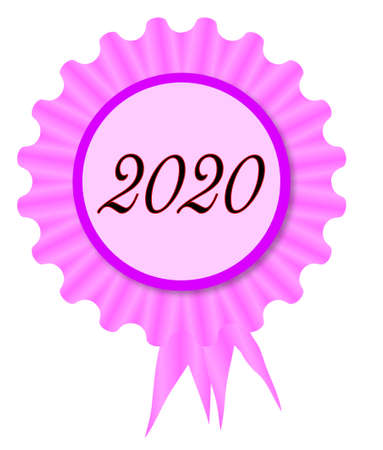 Pink and purple rosette with a date of 2020 inset Ilustração