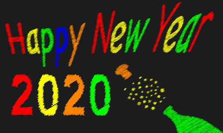 A worn out old blackboard with a happy new year message for 2020 and a bursting bottle of bubbly Ilustração