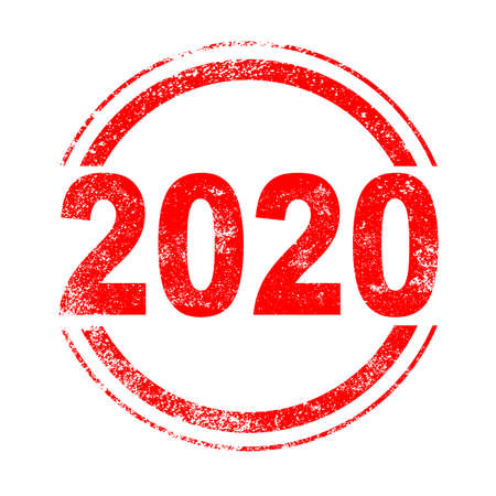 A 2020 red ink grunge stamp over a white background