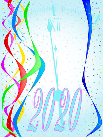 Multi coloured confetti and streamers, a party image with a midnight 2020 clock behind