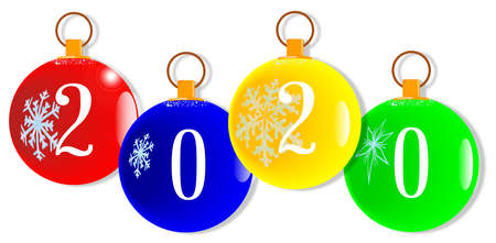 A red christmas decorative ball with the numbers 2020 Ilustração