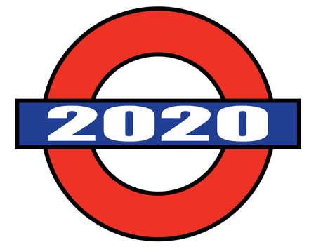Una representación del metro de Londres pero con una placa de 2020
