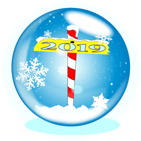 A crystal ball over a winter scene background with a North Pole sign declaring 2019 Ilustração
