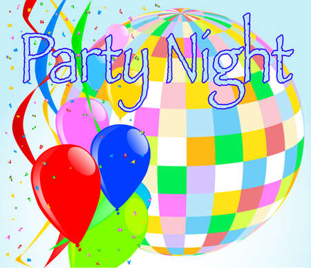 A party night background with balloons and a large disco ball Ilustração